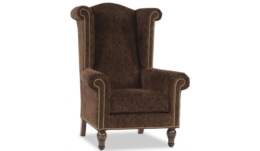 Luxury Leather & Upholstered Furniture Brown King Chair