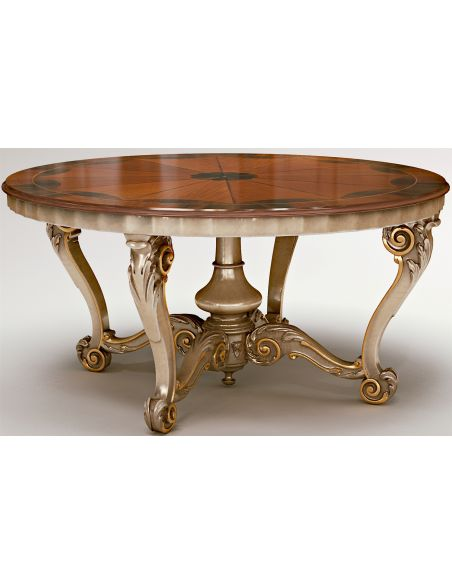 Dining Tables Round Dining Table W/ Scrolled Legs