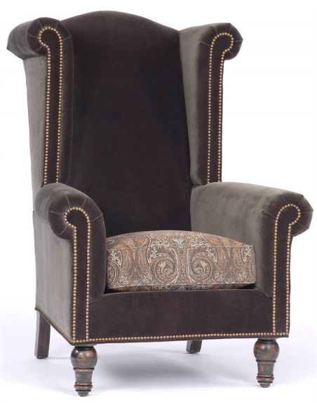 Luxury Leather & Upholstered Furniture Brown High Back Upholstered Chair