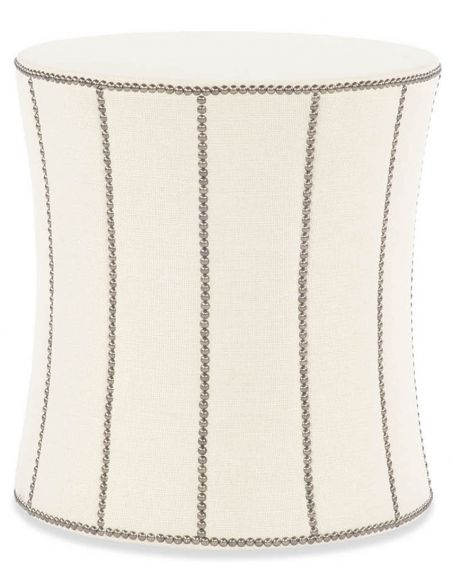 Luxury Leather & Upholstered Furniture Nail Head Trim White Stool- Ottoman