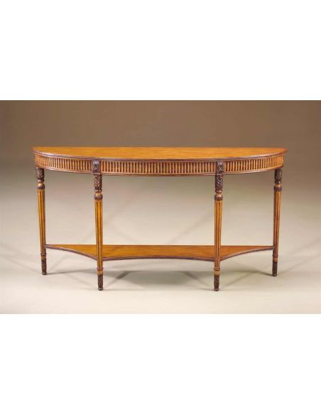 Console & Sofa Tables Honey Pine bow front console table with undertier