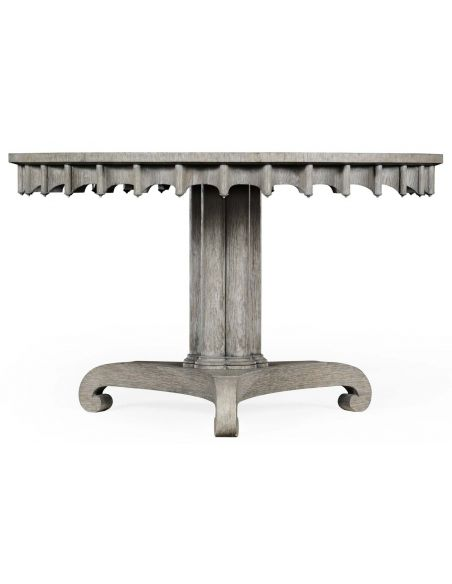 Dining Tables Stylish round dining or foyer center table. gray driftwood color oak