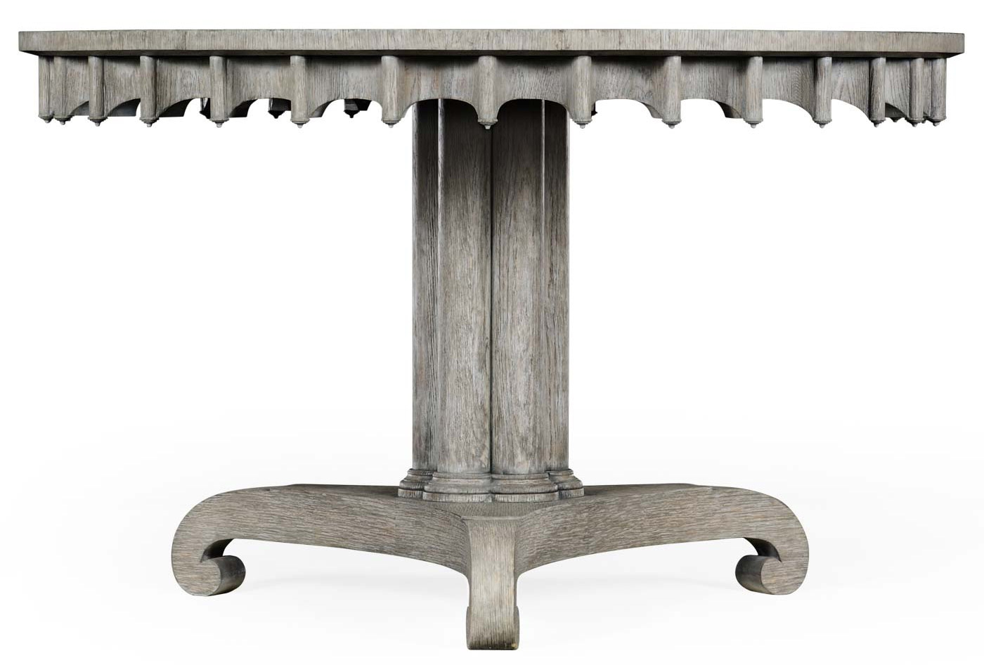 stylish round dining or foyer center table gray driftwood