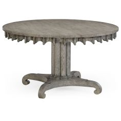 Round to oval dining table, gray driftwood color oak