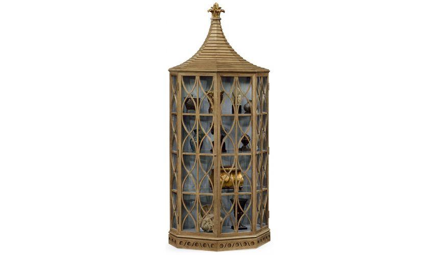 Breakfronts & China Cabinets Modern Oak Birdcage Cupboard