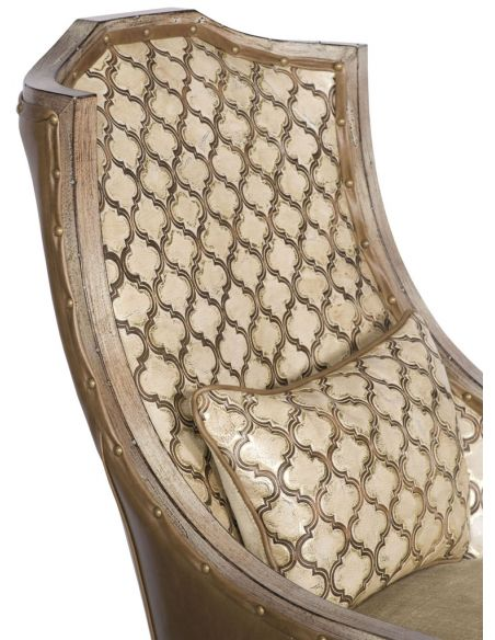 Luxury Leather & Upholstered Furniture Lattice Pattern Accented Arm Chair