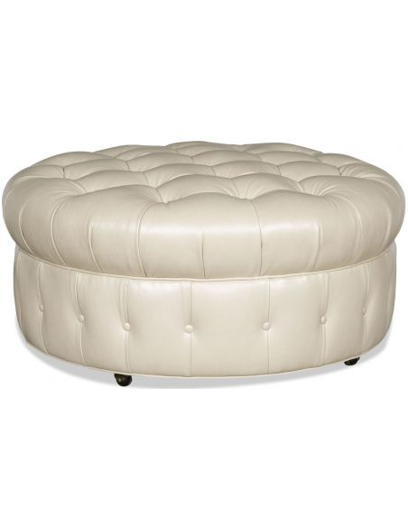 Luxury Leather & Upholstered Furniture Tufted Round Leather Ottoman