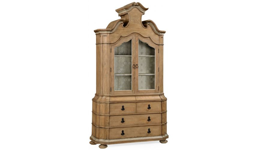 Bookcases Oulton cabinet with glass doors and wooden shelves
