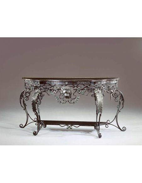 Console & Sofa Tables French bronze style, wrought iron, brass engraved console table.