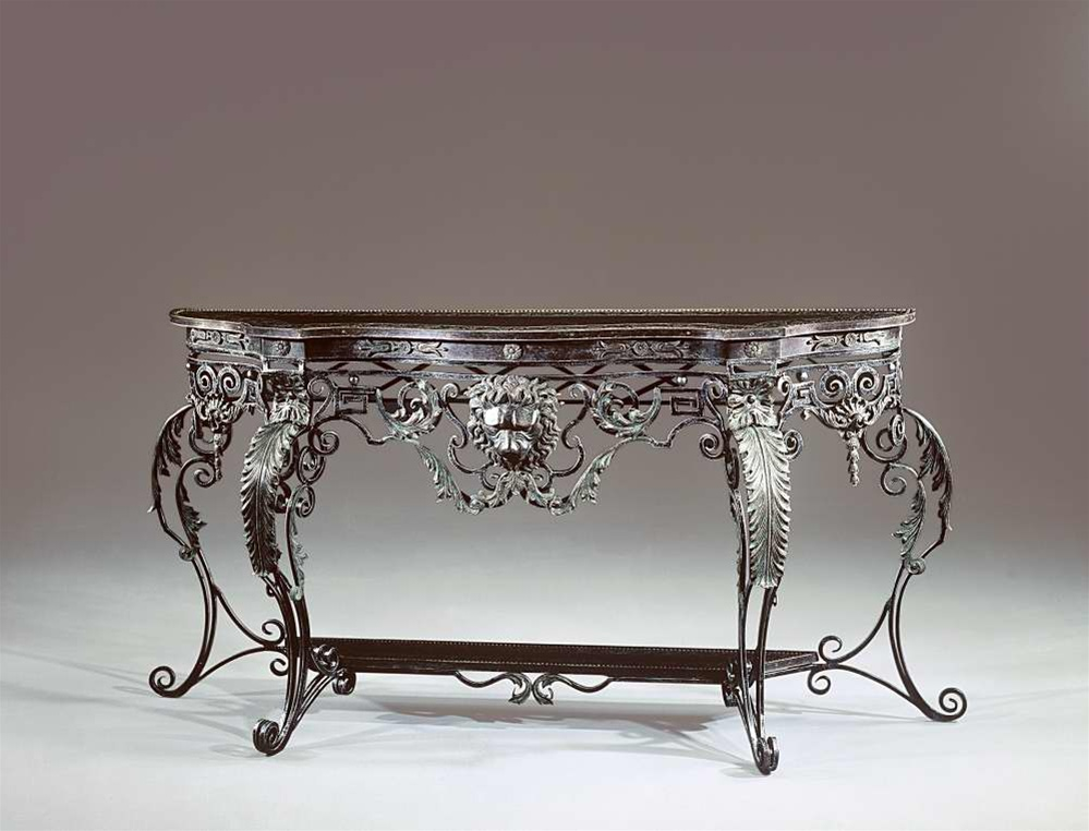 French Bronze Style Wrought Iron Brass Engraved Console