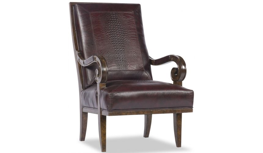 Luxury Leather & Upholstered Furniture Leather Chair with Curved Arms