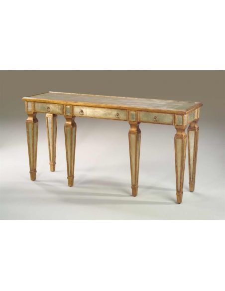Console & Sofa Tables Venetian Art Deco verre eglomise silvered & gilt console table