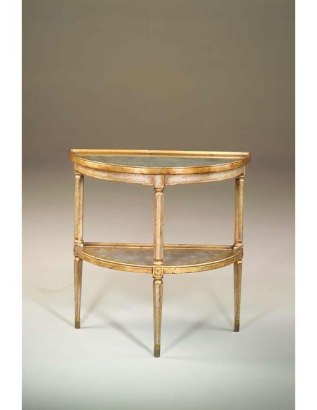 Console & Sofa Tables Venetian giltwood & verre eglomise silvered bowfront console table
