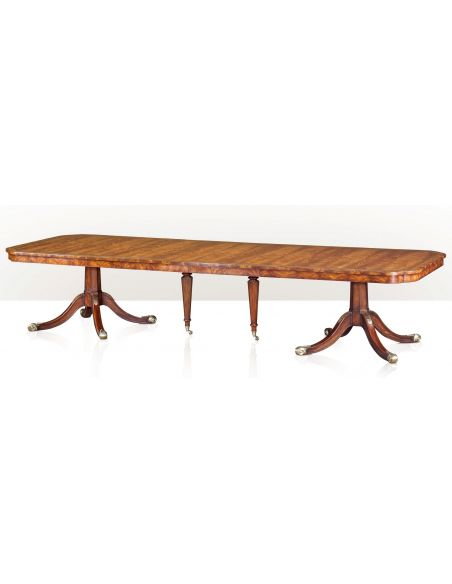 Dining Tables Mahogany and Brass Inlaid Twin Pedestal Dining Table
