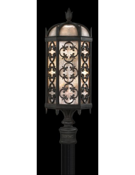 Lighting Post mount in stylized quatrefoil design