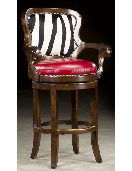 Luxury Leather & Upholstered Furniture Zebra hide bar stool. 65