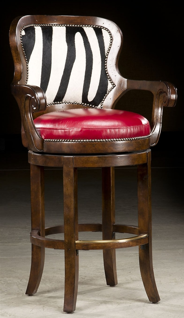 Zebra hide bar stool 65 for Luxury leather bar stools