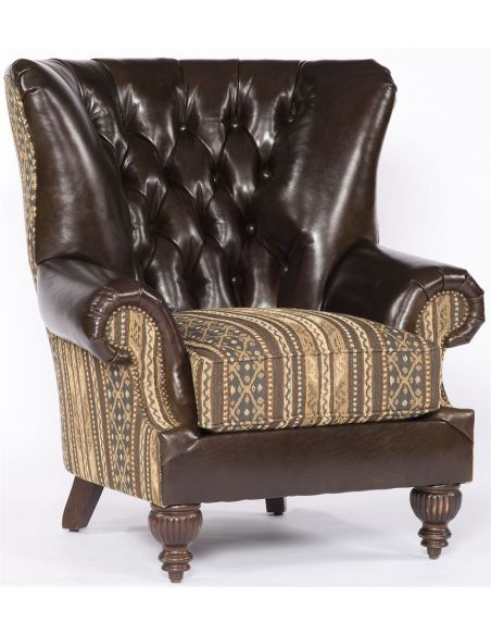 Luxury Leather & Upholstered Furniture Upholstered Seat and Leather Back Chair