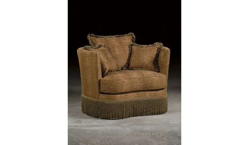 Luxury Leather & Upholstered Furniture Leopard Print Swivel Barrel Chair.