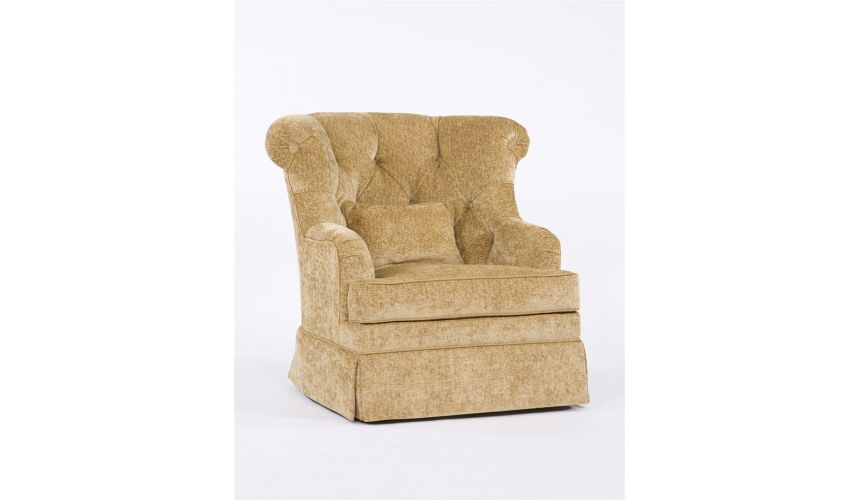 Luxury Leather & Upholstered Furniture Tufted Swivel Chair