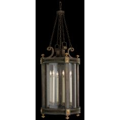 Lantern of weathered woodland brown with gold highlights