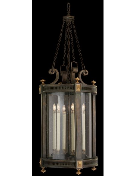 Lighting Lantern of weathered woodland brown with gold highlights