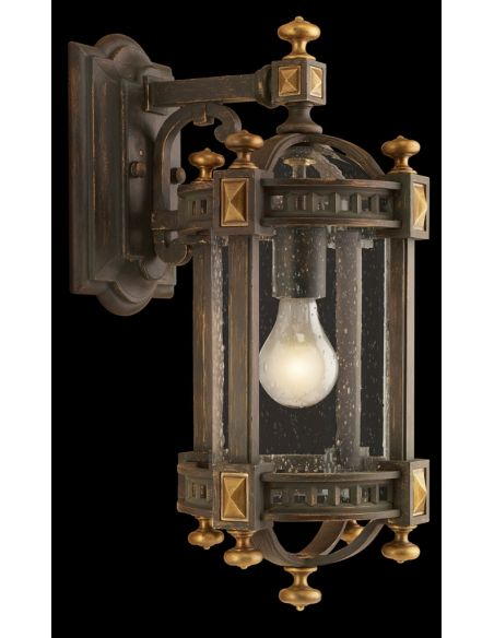 Lighting Extra small wall mount of weathered woodland brown with gold highlights