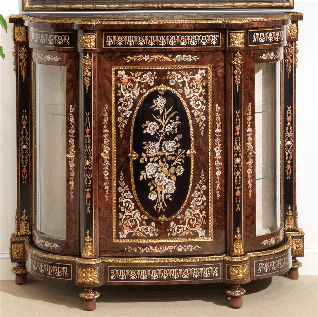Venetian Style 11 venetian style credenza. mother of pearl flower inlays.