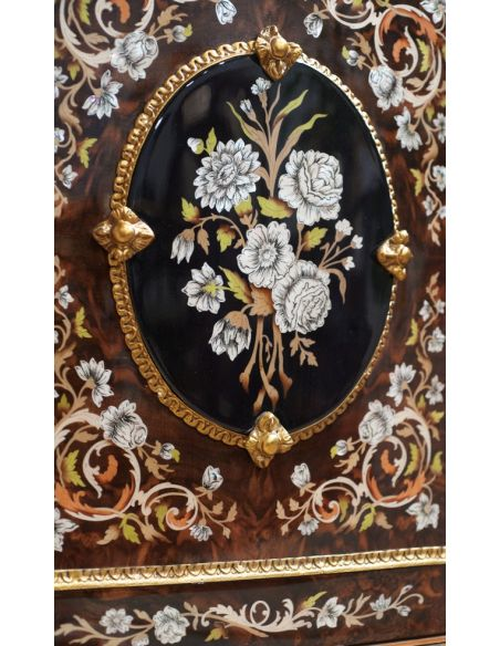 Breakfronts & China Cabinets 11 Venetian style Credenza. Mother of pearl flower inlays.