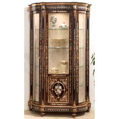 11 Venetian style display case. Mother of pearl flower inlays.