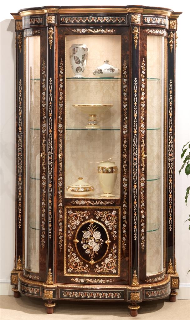 Venetian Style 11 venetian style display case. mother of pearl flower inlays.