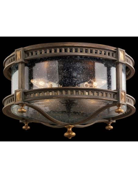 Lighting Flush mount of weathered woodland brown with gold highlights