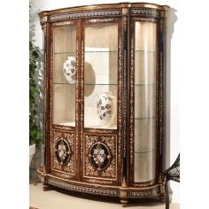 11 Venetian style large display case. Mother of pearl flower inlays.