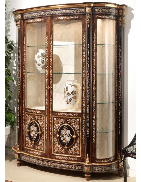 Breakfronts & China Cabinets 11 Venetian style large display case. Mother of pearl flower inlays.