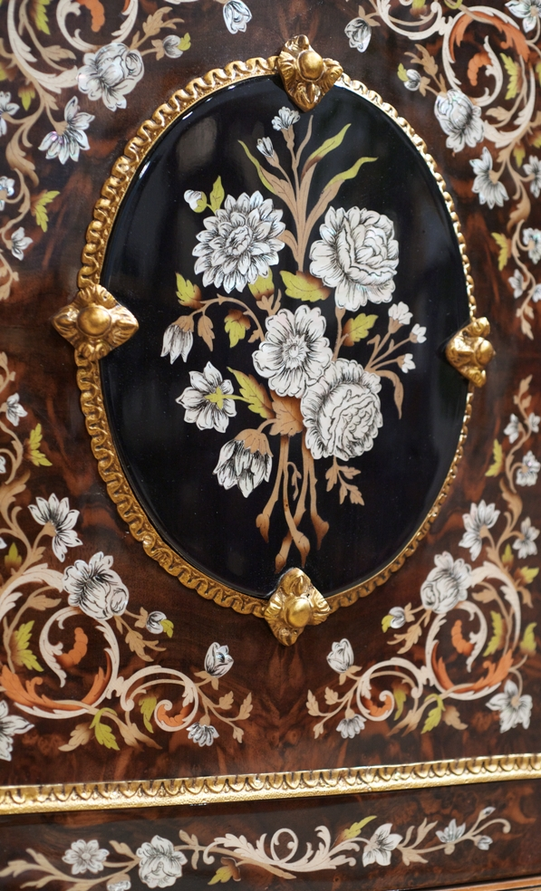Venetian Style 11 venetian style large display case. mother of pearl flower inlays.