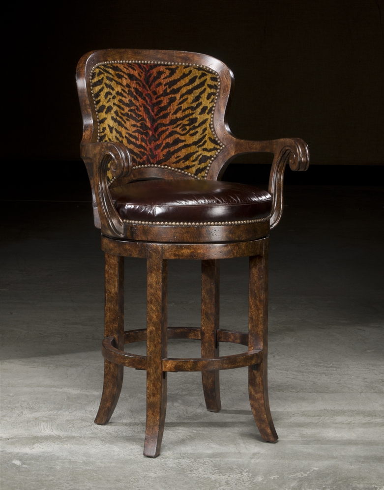 High end furniture tiger bar stool for Luxury breakfast bar stools