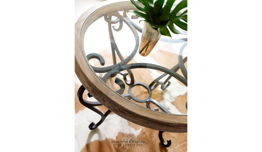 Decorative Glass Top Table With Wrought Iron Base