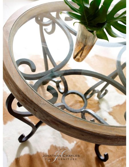 Coffee Tables Decorative glass top table with wrought iron base