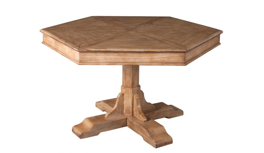 Dining Tables 70 table self storing leaves, hexagonal shape.