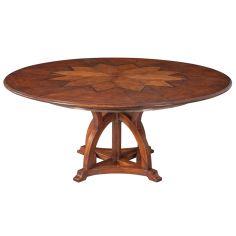 70 Jupe table self storing leaves, walnut, white oak center detail.