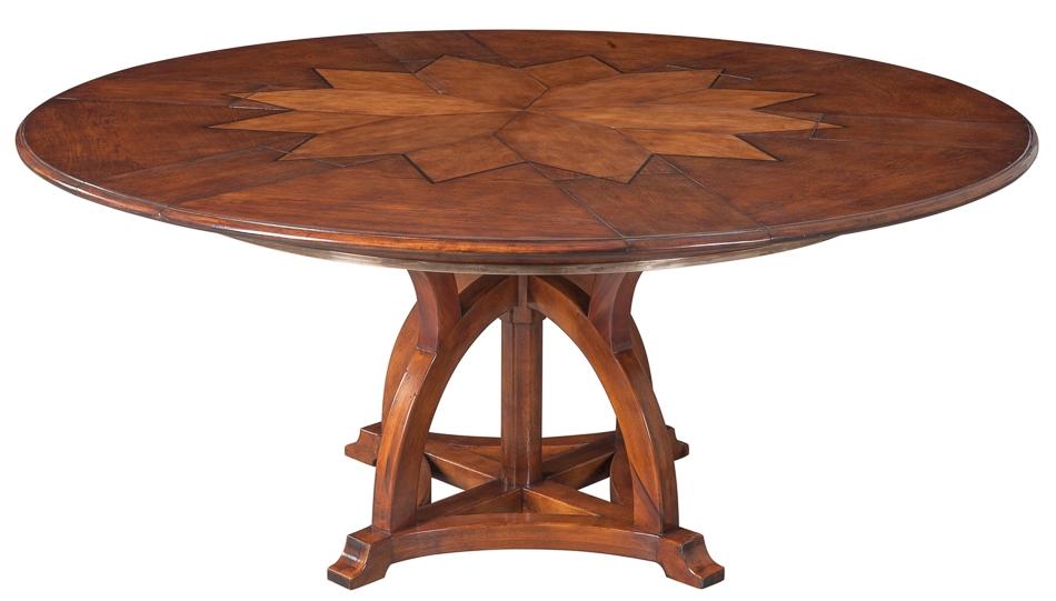 Dining Tables 70 Jupe Table Self Storing Leaves, Walnut, White Oak Center  Detail.