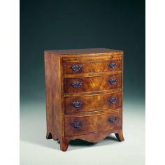 A Regency walnut & mahogany bowfront chest of drawers