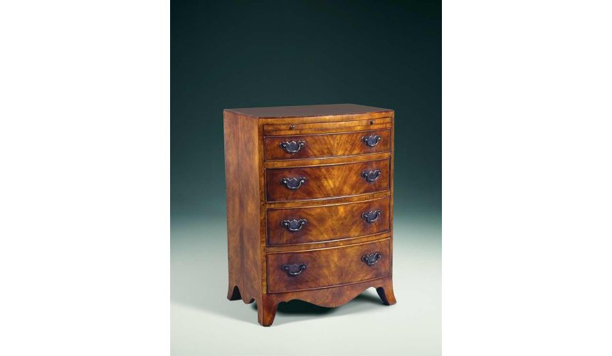 Chest of Drawers A Regency walnut & mahogany bowfront chest of drawers