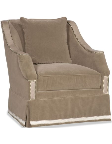 Luxury Leather & Upholstered Furniture Upholstered Club Swivel Chair with Nail Head Trims