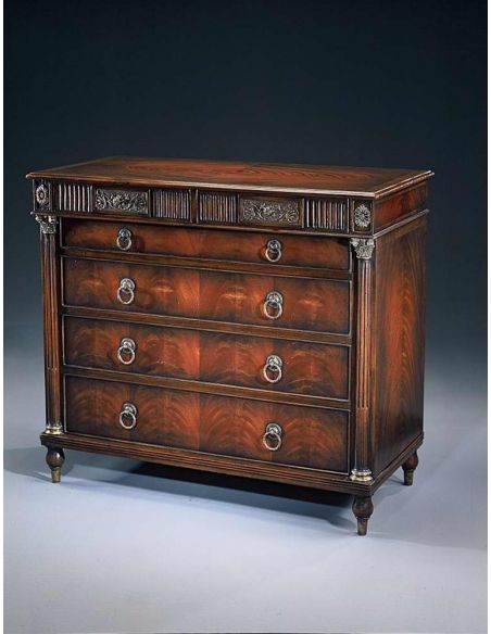 Chest of Drawers An Empire mahogany chest of drawers antique reproduction furniture