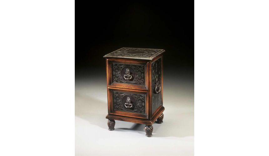 Square & Rectangular Side Tables Renaissance Revival walnut & brass engraved panel bedside chest