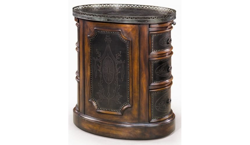 Round & Oval Side Tables Victorian walnut & brass engraved panel oval pedestal chest of drawers