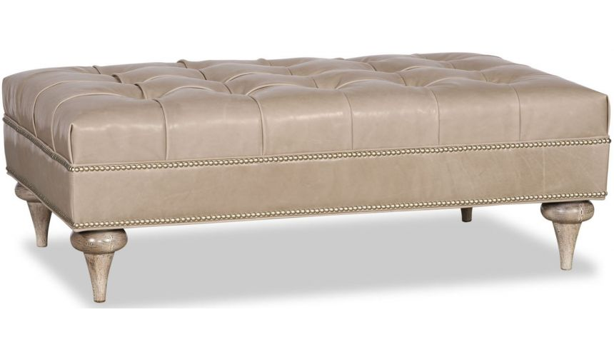 Luxury Leather & Upholstered Furniture Tufted Ottoman Sofa with Nail Head Trims