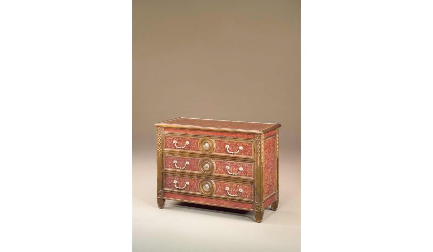 Chest of Drawers Venetian carved giltwood & painted verre eglomise red decoupage chest of drawers