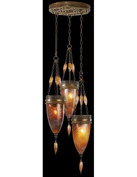 Lighting Pendant of meticulously crafted metalwork, vibrant Amber Dunes color